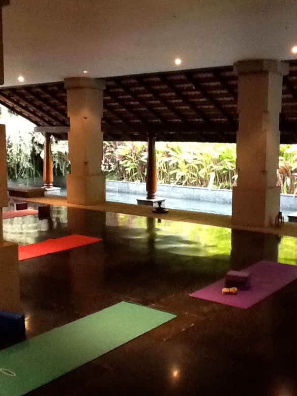 Yoga at the Ayurvedic Center. Serene.